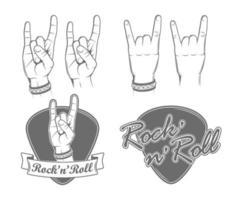 ilustraciones de gesto de mano de roca vector