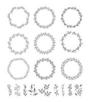 Round Wreaths Vector Icons