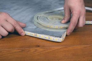 Installation of decorative diode lighting photo