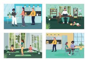 Corporate wellness flat color vector illustration set