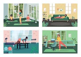 Conjunto de ilustración de vector de color plano de estilo de vida saludable de empleado