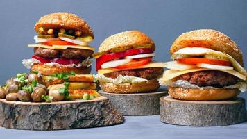 Fried potatoes with mushrooms and juicy meat burgers on wooden stumps photo