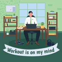 Workout at workplace social media post mockup vector