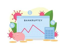Bankruptcy rate graph flat concept vector illustration