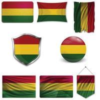 conjunto de la bandera nacional de bolivia en diferentes diseños sobre un fondo blanco. ilustración vectorial realista. vector