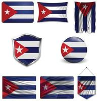 conjunto de la bandera nacional de cuba en diferentes diseños sobre un fondo blanco. ilustración vectorial realista. vector