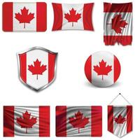 Set of the national flag of Canada in different designs on a white background. Realistic vector illustration.