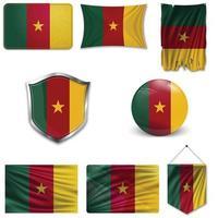 conjunto de la bandera nacional de camerún en diferentes diseños sobre un fondo blanco. ilustración vectorial realista. vector