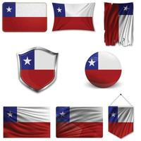 Set of the national flag of Chile in different designs on a white background. Realistic vector illustration.