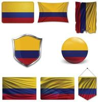 Set of the national flag of Colombia in different designs on a white background. Realistic vector illustration.