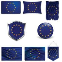 Set of the European Union flag in different designs on white background. Realistic vector illustration.