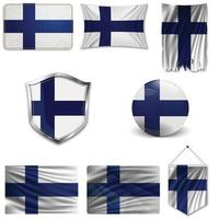 Set of the national flag of Finland in different designs on a white background. Realistic vector illustration.