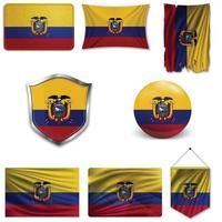 conjunto de la bandera nacional de ecuador en diferentes diseños sobre un fondo blanco. ilustración vectorial realista. vector