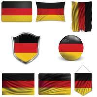Conjunto de la bandera nacional de Alemania en diferentes diseños sobre un fondo blanco. ilustración vectorial realista. vector