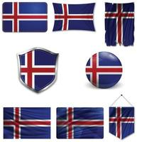 Set of the national flag of Iceland in different designs on a white background. Realistic vector illustration.