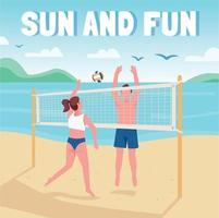 Friends playing beach volleyball social media post mockup. Sun and fun phrase. Web banner design template. Booster, content layout with inscription. Poster, print ads and flat illustration vector