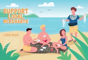 Apoyar la plantilla de vector plano de banner de comerciantes locales. folleto, diseño de concepto de cartel con personajes de dibujos animados. Turistas comprando recuerdos de conchas en la playa, folleto horizontal folleto con lugar para el texto