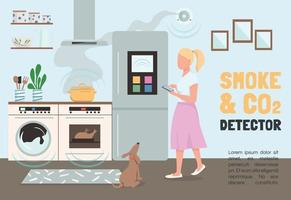 Smoke and CO2 detector banner flat vector template. Smart home security brochure, poster concept design with cartoon characters. Internet of things horizontal flyer, leaflet with place for text