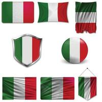 conjunto de la bandera nacional de Italia en diferentes diseños sobre un fondo blanco. ilustración vectorial realista. vector