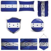 conjunto de la bandera nacional de honduras en diferentes diseños sobre un fondo blanco. ilustración vectorial realista. vector