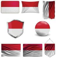 Set of the national flag of Indonesia and Monaco in different designs on a white background. Realistic vector illustration.