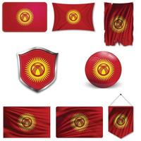 Set of the national flag of Kyrgyzstan in different designs on a white background. Realistic vector illustration.