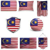 Set of the national flag of Malaysia in different designs on a white background. Realistic vector illustration.