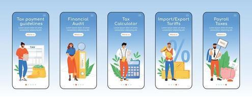política fiscal incorporación de plantilla de vector plano de pantalla de aplicación móvil. pasos del sitio web del tutorial de impuestos y pagos con caracteres. ux, ui, interfaz gráfica de usuario de dibujos animados para teléfonos inteligentes, conjunto de impresiones de casos