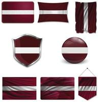 Set of the national flag of Latvia in different designs on a white background. Realistic vector illustration.