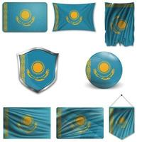 Set of the national flag of Kazakhstan in different designs on a white background. Realistic vector illustration.