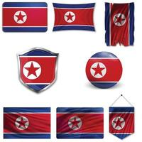 Set of the national flag of North Korea in different designs on a white background. Realistic vector illustration.