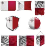 Set of the national flag of Malta in different designs on a white background. Realistic vector illustration.