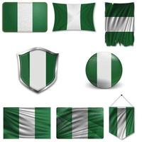 Set of the national flag of Nigeria in different designs on a white background. Realistic vector illustration.