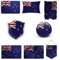 Set of the national flag of New Zealand in different designs on a white background. Realistic vector illustration.