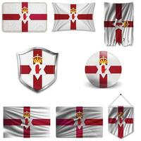 Set of the national flag of Northern Ireland in different designs on a white background. Realistic vector illustration.