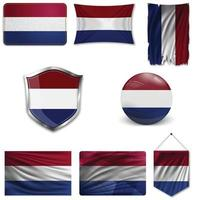 Set of the national flag of Netherlands in different designs on a white background. Realistic vector illustration.