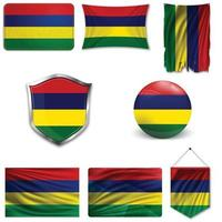 Set of the national flag of Mauritius in different designs on a white background. Realistic vector illustration.