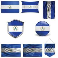 Set of the national flag of Nicaragua in different designs on a white background. Realistic vector illustration.