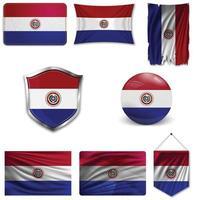 Conjunto de la bandera nacional de Paraguay en diferentes diseños sobre un fondo blanco. ilustración vectorial realista. vector