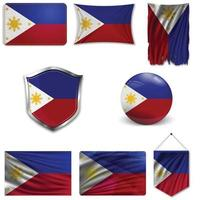 Set of the national flag of Philippines in different designs on a white background. Realistic vector illustration.