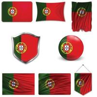 Set of the national flag of Portugal in different designs on a white background. Realistic vector illustration.