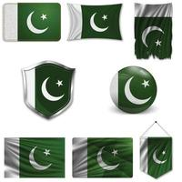 Set of the national flag of Pakistan in different designs on a white background. Realistic vector illustration.