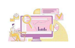 Ilustración de vector de concepto de línea fina de métricas de marketing de contenidos. comercializador, analista personaje de dibujos animados 2d para diseño web. seo análisis, investigación en internet, optimización de motores de búsqueda idea creativa