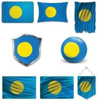 Set of the national flag of Palau in different designs on a white background. Realistic vector illustration.