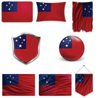Set of the national flag of Samoa in different designs on a white background. Realistic vector illustration.
