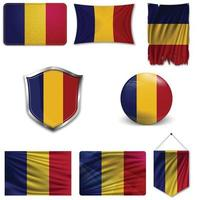 Set of the national flag of Romania in different designs on a white background. Realistic vector illustration.