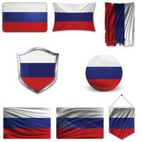 Set of the national flag of Russia in different designs on a white background. Realistic vector illustration.