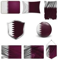 Set of the national flag of Qatar in different designs on a white background. Realistic vector illustration.