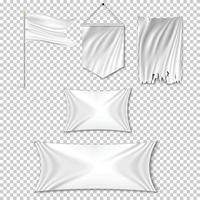 Set white textile banners and flags vector