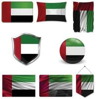Set of the national flag of United Arab Emirates in different designs on a white background. Realistic vector illustration.